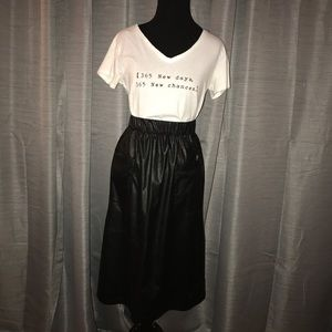Vegan Leather Midi Skirt